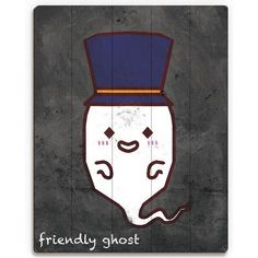 "Click Wall Art 'Friendly Ghost' Graphic Art on Plaque Size: 14"" H x 11"" W x 1"" D"