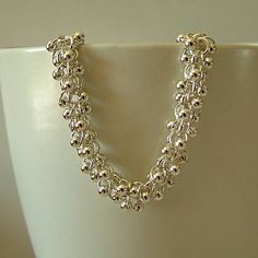 Silver Shaggy Loops Chainmaille Bracelet with Sterling Silver Beads, Silver Chainmaille Bracelet