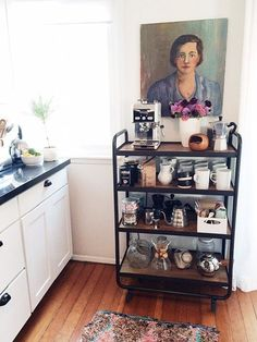 For Coffee Lovers: A Kitchen Cart Devoted Entirely To Coffee Making — Kitchen Inspiration Coffee Bar Home, Home Coffee Stations, Coffee Corner, Coffee Time, Coffee Carts, Bars For Home, Kitchen Decor, Diy Kitchen, Kitchen Carts