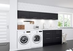 Vaskerom - Kjøkken fra Epoq - Kjøp hos Elkjøp og Lefdal! Garage Laundry Rooms, Laundry Nook, Laundry Decor, Laundry Room Cabinets, Small Laundry, Laundry In Bathroom, Laundry Room Inspiration, Modern Garage, Laundry Room Design