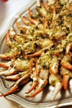Louisiana-style marinated crab claws. These are a huge hit at parties.