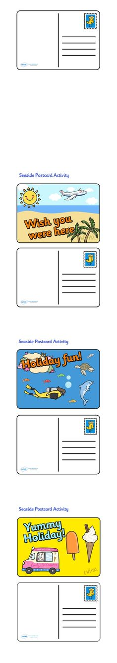 Create a Postcard Activity Travel Activities, Holiday Activities, Preschool Lessons, Preschool Activities, Holiday Themes, Holiday Fun, Seaside Theme, Sea Theme, Teaching Resources