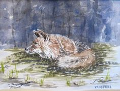 This one is great!  Watercolor painting - Fox in the Forest