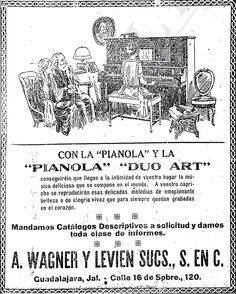 1926 - Venta de Pianolas Casas Wagner - Anuncio publicado en el Informador Guadalajara, Jalisco México