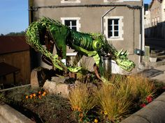 The jolly green dragon in St Privat d'Allier