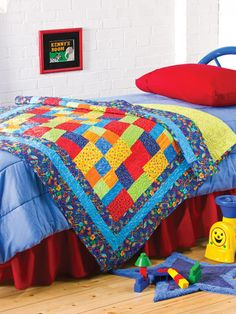 Free Baby Quilt Patterns & Designs for Kids - Bright primary colors create a real splash in this flashy quilt. This e-pattern was originally published in Patchwork Comforters, Throws & Quilts. Size: x Block Size: x Level: Beginner Free Baby Quilt Patterns, Beginner Quilt Patterns, Patchwork Patterns, Quilting For Beginners, Beginner Quilting, Blanket Patterns, Quilting Patterns, Patchwork Baby, Crazy Patchwork