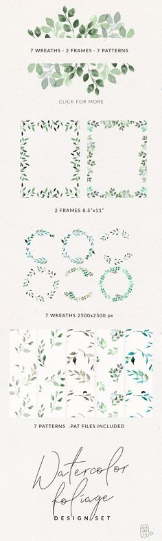 Watercolor Foliage Design Set by nantia on @creativemarket