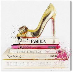 Runway Avenue 'Gold Shoe and Fashion Books' Glam and Fashion Wall Art - Gold Stilettos High Heels Shoes with Fashion Books with Pink Tones Modern Contemporary Canvas Art Print, inch Fashion Wall Art, Fashion Painting, Oliver Gal, Canvas Wall Art, Canvas Prints, Chandelier Art, Teen Wall Art, Spirited Art, Thing 1
