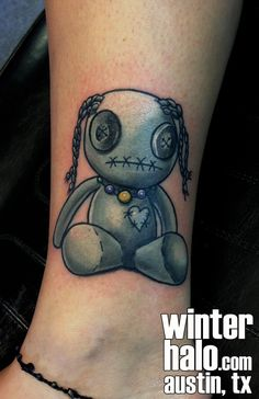 Black and Grey Voodoo doll Tattoo by Christopher Hedlund voo doo button eyes string hair patch heart patchwork gray opaque  tattoo tattoos best artist art illustration illustrator realistic realism drawing painting colorful bright pretty beautiful color  austin tx texas georgetown pflugerville round rock taylor san antonio san marcos