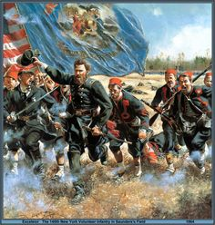New York Volunteer Infantry in Saunders Field -Civil War Art by Don Troiani- Military Art, Military History, Military Diorama, Military Uniforms, American Civil War, American History, Battle Of The Wilderness, Civil War Art, Civil War Photos