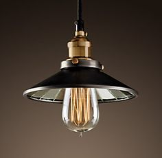 20th C. Factory Filament Reflector, 7.5 in dia, aged steel finish, $139