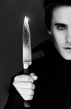 Jared Leto - a little knife play, ehh? you'll need a sharper blade my love...