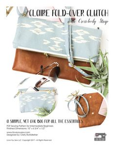 PDF Pattern: Claire Fold-over Clutch with Cross-body Strap Bag Patterns To Sew, Pdf Sewing Patterns, Sewing Ideas, Sewing Projects, Foldover Crossbody Bag, Clutch Pattern, Marc Jacobs Handbag, Bag Making, Cross Body