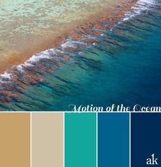 Like the turquoise and sand colors. As we say GOODBYE to summer, I figured I'd post one more ocean-inspired color palette. The deeper tones of tans, turquoises, and blues will hopefully provide a more gentle transition into th. Coastal Color Palettes, Coastal Colors, Ocean Colors, Room Colors, House Colors, Colour Schemes, Color Patterns, Color Combos, Beach Color