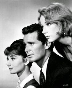 """sweetheartsandcharacters: """"Audrey Hepburn, James Garner and Shirley MacLaine, """"The Children's Hour"""" (William Wyler, 1961). """""""