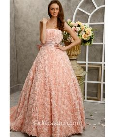 Strapless Empire Pearl Pink Ball Gown Floor-length Prom Dress
