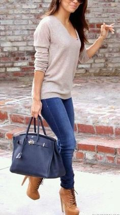 High Sole Boots With Denim and Sweater Shirt