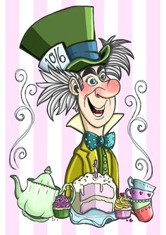 Alice in Wonderland Mad Hatter A4 Art Print by by HungryDesigns