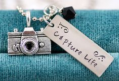 Capture Life necklace pendant Sterling Silver or Nickel Hand Stamped - Great gift for the Photographer Photography Photog Camera Charm