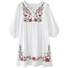White Embroidered Floral Loose Dress (125 CAD) ❤ liked on Polyvore featuring dresses, flower print dress, white loose dress, embroidery dress, loose fitting dresses and floral dress