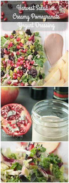 Harvest Salad with Creamy Pomegranate Yogurt Dressing combines the colours and flavours of fall. Perfect starter for holiday meals, or add some turkey and make a complete meal.