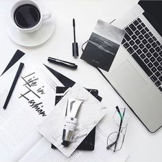 Flatlay Inspiration · via Custom Scene · black and white inspired desk scene.