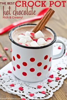 This rich and creamy CROCK POT HOT CHOCOLATE RECIPE is simply divine! There's nothing like some warm hot cocoa on a cold wintery day. Serve this at a holiday Christmas party! Perfect for a gingerbread house decorating party, too. No matter the occasion, your guests will love this hot chocolate. The Best Crock Pot / Slow Cooker Hot Chocolate Recipe Ingredients: