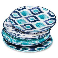 Mudhut™ Blue Ikat Melamine Dinner Plates - Set of 4