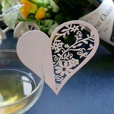 Love Heart Blank Name Place Wine Glass Table Card - Wedding Look