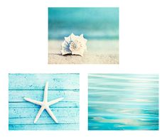 Beach Canvas Print Set - A set of three beach photography canvas wraps in soothing aqua blue tones, the perfect wall accent for any coastal themed room! Orientation: Horizontal (Landscape)  ➤ ➤ Fine art print set available here: www.etsy.com/listing/111826717   ****************************************** ABOUT CANVAS GALLERY WRAP: ******************************************  • Ready to hang, no framing required! Hanging hardware included.  • Art canvas stretched over 1.5 deep solid wo...