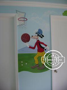 Mickey Mouse club house kids room mural - Goofy #murals #kidsrooms #kidsroomdecor