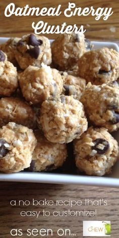 Oatmeal Energy Bites - 2 cups quick oats, 1/2 cup chocolate chips,2/3 cup unsweetened coconut flakes, 1/2 cup peanut butter, 1/3 cup honey,1 tsp vanilla, 1/4 tsp salt+