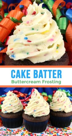 Cake Batter Buttercream Frosting - our delicious buttercream frosting flavored with cake mix and sprinkles. Sweet, creamy and colorful, this yummy homemade butter cream frosting will take your Birthday Cakes and Birthday Cupcakes to the next level. Köstliche Desserts, Delicious Desserts, Delicious Cupcakes, Recipes For Sweets, Desserts For Birthdays, Awesome Desserts, Awesome Cakes, Food Cakes, Cupcake Cakes