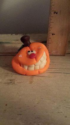 Polymer clay pumpkin Handmade sculpted polymer by Claykeepsakes