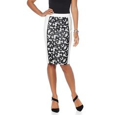 Wendy Williams Faux Leather and Mesh Pencil Skirt