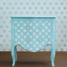 Polka dot dresser drawers! Country white with black dots and black with white dots for inside the drawers ... cute maybe pink or tan for the rest of the drawers???