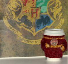 Knit coffee cozy. Witchcraft Wizardry school alumni. by MugHugCozy