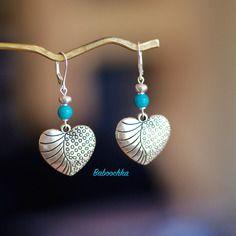 Dormeuses argent 925 turquoise véritable pendentif coeur stylisé argenté