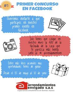PARTICIPA EN NUESTRO PRIMER CONCURSO DE FACEBOOK Y NO TE PIERDAS LA OPORTUNIDAD DE GANAR UN HERMOSO PREMIO DE ARRENDAMIENTOS ENVIGADO. !!!!! LAS PERSONAS QUE TENGAN MAS LIKES AL PONER UNA FOTO DE LA FACHA MAS BONITA DE UNA CASA DE CUALQUIER PARTE DE ANTIOQUIA EN EL MUERO DE ARRENDAMIENTOS ENVIGADO CON EL HASHTAG #ARRENDAMIENTOEN ES EL QUE SE LLEVA EL PREMIO... APRESURATE Y GANA! ARRENDAMIENTOS ENVIGADO 40 AÑOS DE EXPERIENCIA INMOBILIARIA.