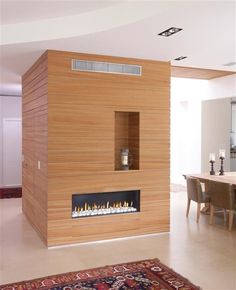 We're installing these linear fireplaces in our new homes nowadays, but this cube style half bath?/closet with fireplace on one side is a great idea Direct Vent Gas Fireplace, Linear Fireplace, Fireplace Inserts, Modern Fireplace, Contemporary Design, New Homes, Luxury, Gas Fireplaces