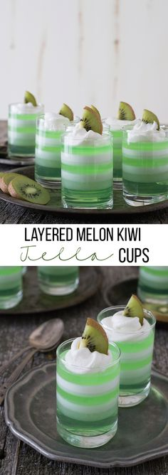 Layered Melon Kiwi Jello Cups - a fun layered jello dessert for Spring or Summer!