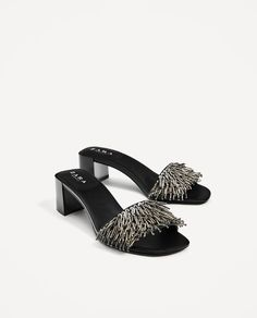 SANDALS WITH METALLIC DETAILS from Zara Stylish Sandals, Sandals For Sale, Ugly Shoes, Sock Shoes, Shoes Flats Sandals, Leather Sandals, Jelly Shoes Outfit, Beaded Shoes, Plastic Shoes