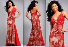 Asian-inspired floor length halter gown features sparkling gold sequins and elegant beading