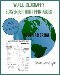 World Geography Scavenger Hunt: South America ~ FREE Printable World Geography Scavenger Hunt Printables: South America from Starts At Eight Geography Worksheets, Geography Activities, Teaching Geography, Teaching History, History Education, Teaching Resources, Dinosaur Activities, History Class, Classroom Resources