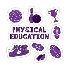 Decorate laptops, Hydro Flasks, cars and more with removable kiss-cut, vinyl decal stickers. Glossy, matte, and transparent options in various sizes. Super durable and water-resistant. Back to school with the cutest Purple Physical Education subject stickers. Perfect gift for a kid, tween, teen or any age! Check out my portfolio for all the individual subject versions as I roll them out! Volleyball, Bowling, Pin, Bowling Ball, Trophy, Sneakers, Goal, Score, Whistle and Football High School Subjects, School Folders, Simple Canvas Paintings, School Planner, Business Stickers, Good Notes, Aesthetic Stickers, Physical Education, Cute Stickers