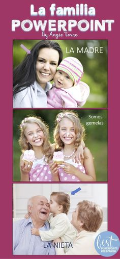 """Keep your students engaged with beautiful visuals as they learn about the family members. Angie Torre's PowerPoint and Interactive Notebook Activities for, """"La familia"""" Spanish Family vocabulary provides comprehensible input so you can teach in the target language. Click here to see a sample."""