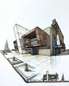 design sketch House sketch design architecture ideas for 2019 Architecture Drawing Sketchbooks, Architecture Design, Architecture Concept Drawings, Interior Architecture Drawing, Landscape Architecture, Computer Architecture, Minimalist Architecture, Interior Rendering, Architecture Student