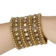 Bridal 3-Row Golden Crystal Wide Elastic Cuff Bracelet Bangle Wedding Party # #Bangle
