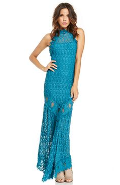 DailyLook: Nightcap Florence Lace Halter Gown in Turquoise 1 - 3