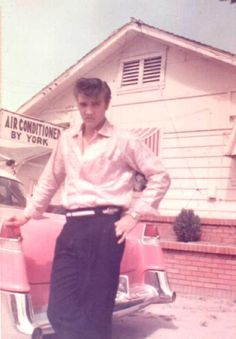 #Elvis bought at least 100 Cadillacs in his lifetime. Here with his pink 1955 Fleetwood 60 Special